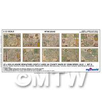 Dolls House Miniature 10 UK County Maps John Speed 1610 Set 6