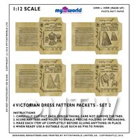 Set Of 4 Miniature DIY Doll House Victorian Dress Packets S2