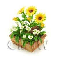 Dolls House Miniature Sunflower and Calla Lillies Display