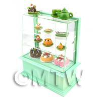 Dolls House Miniature Pastel Green Themed Cafe Display