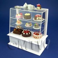 Dolls House Miniature Filled White Patisserie Display