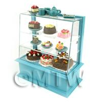 Dolls House Miniature Filled Blue Patisserie Display