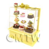 1/12th scale - Dolls House Miniature Filled Pastel Yellow Patisserie Display
