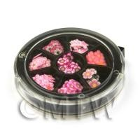 Dolls House Miniature - 80 Assorted Nail Art Pink Flower Slices In a Wheel
