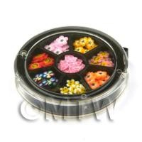 80 Assorted Nail Art Flower Slices In a Wheel
