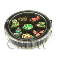 1/12th scale 80 Assorted Nail Art Christmas Slices In a Wheel Set 2
