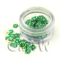 Pot With 120 Mixed Green Flower Nail Art Slices