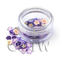 Pot With 120 Mixed Indigo Themed Flower Nail Art Slices