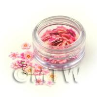 Dolls House Miniature - Mixed Pink Flower Nail Art Pot Containing 120 Slices