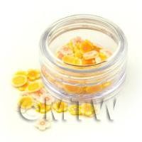 Mixed Yellow Themed Flower Nail Art Pot Containing 120 Slices