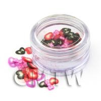 Bows And Hearts Nail Art Pot Containing 120 Slices
