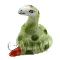 Dolls House Miniature Ceramic Green Snake