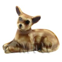 Dolls House Miniature Ceramic Brown Chihuahua Laying Down (3)