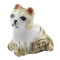 Dolls House Miniature Ceramic Brown and White Tabby Cat Sitting (2)