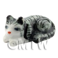 Dolls House Miniature Ceramic Grey and White Tabby Cat Laying Down