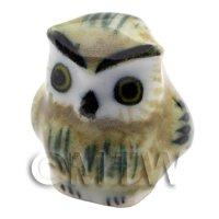 Dolls House Miniature Ceramic Dark Brown Owl