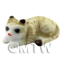Dolls House Miniature Ceramic Brown and White Tabby Cat Laying Down