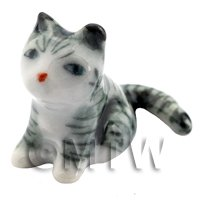Dolls House Miniature Ceramic Grey and White Tabby Cat Sitting
