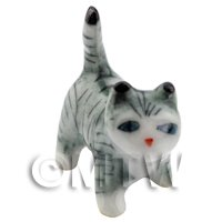Dolls House Miniature Ceramic Grey and White Tabby Cat Standing