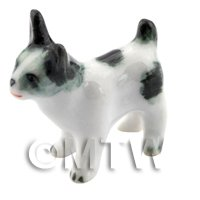 Dolls House Miniature Ceramic Black and White Terrier