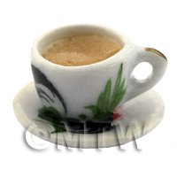 Dolls House Miniature Cup of Coffee in A White Rooster Mug