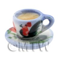 Dolls House Miniature Cup of Coffee in A Blue and White Rooster Mug