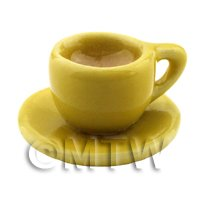 Dolls House Miniature Cup of Coffee in A Yellow Mug