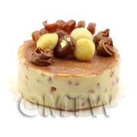 Dolls House Miniature Handmade Vanilla and Chocolate Cheesecake