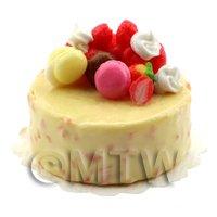 Dolls House Miniature Handmade Lemon Iced Fruit Cake With Fruit Decoration