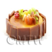 Dolls House Miniature Handmade Caramel Cake With Chocolate Squares