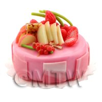 Dolls House Miniature Handmade Strawberry Cake Topped with Fruit