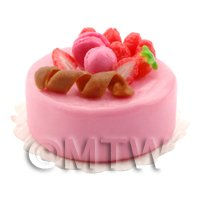 Dolls House Miniature Handmade Strawberry Cake Topped with Macaroons and Strawbe