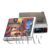 Dolls House Miniature Metal Christmas Biscuit Tin