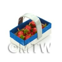 Handmade Dolls House Miniature Punnet With 12 Strawberries