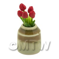 Dolls House Miniature Red Tulip in Earthenware Pot