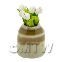 Dolls House Miniature White Tulip in Earthenware Pot