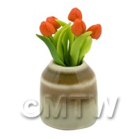 Dolls House Miniature Orange Tulip in Earthenware Pot