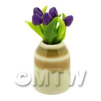 Dolls House Miniature Purple Tulip in Earthenware Pot