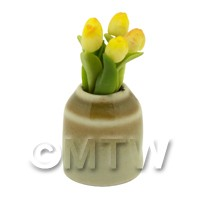 Dolls House Miniature Yellow Tulip in Earthenware Pot