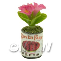 Dolls House Miniature 3 Pink Flowers in Food Can