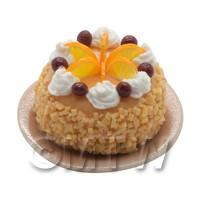 Dolls House Miniature Handmade Orange Fruit Cake On A Plate
