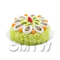Dolls House Miniature Green Kiwi Cream Cake