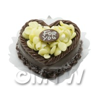 Dolls House Miniature Chocolate Heart For you Cake