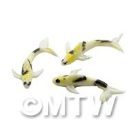 3 Small Koi Carp White,Yellow and Black