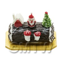 Dolls House Miniature Chocolate Yule Log Cake