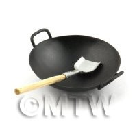 Dolls House Miniature Handmade Metal Wok With Large Shovel