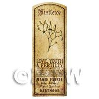 Dolls House Herbalist/Apothecary Mistletoe Herb Long Sepia Label