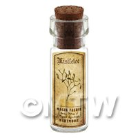 Dolls House Apothecary Mistletoe Herb Short Sepia Label And Bottle