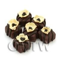 Handmade Square Milk Chocolate Flower Bead - Jewellery