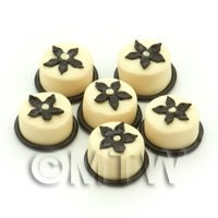 Handmade round White And Dark Chocolate Flower Bead - Jewellery